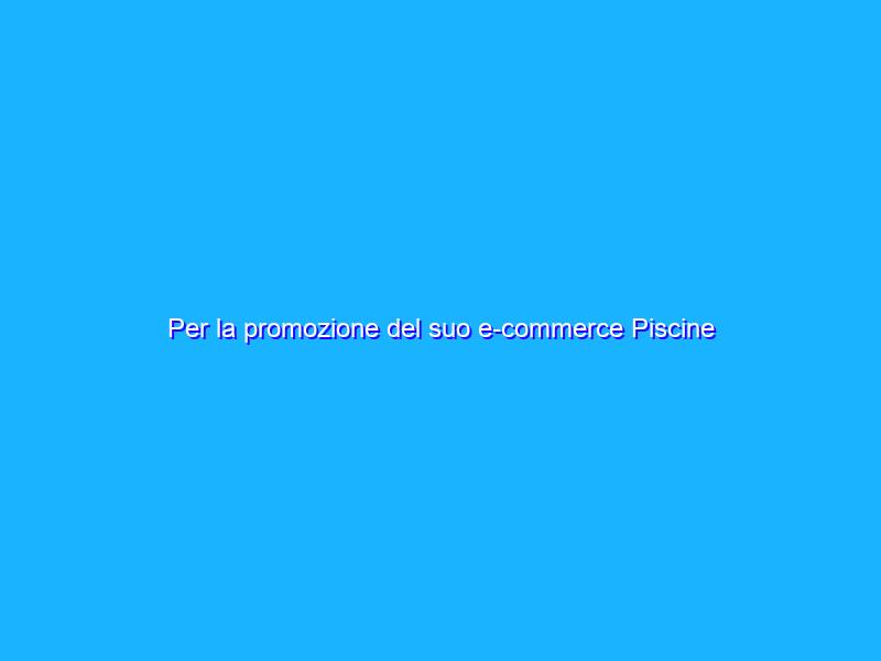 Per la promozione del suo e-commerce Piscine Laghetto si affida a noi
