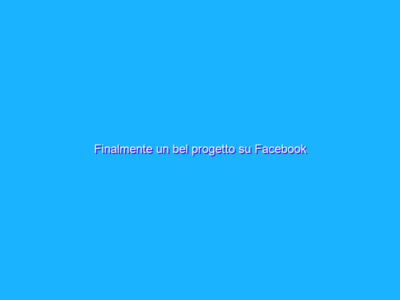 Finalmente un bel progetto su Facebook
