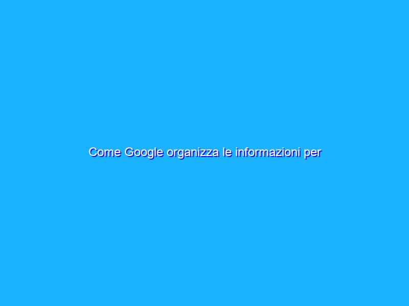 Come Google organizza le informazioni per aiutarvi a trovare ciò che cercate