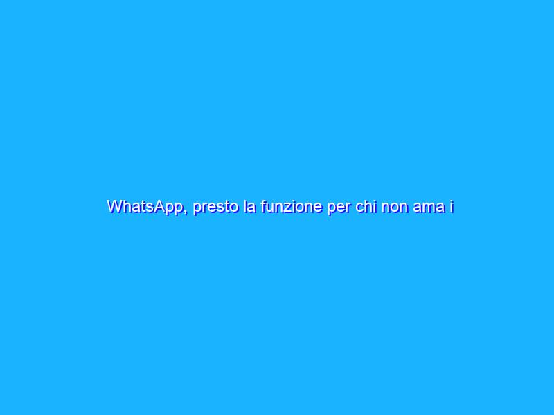WhatsApp, presto la funzione per chi non ama i messaggi vocali